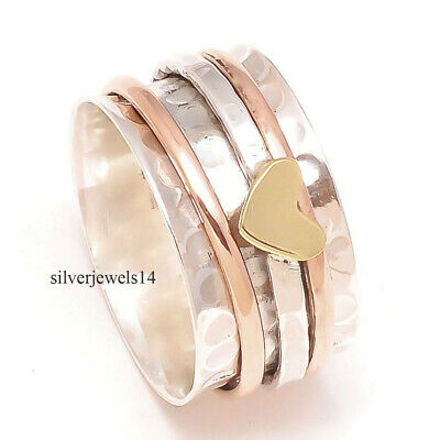 925 Sterling Silver Brass Copper Spinner Ring Meditation Statement Jewelry ss850