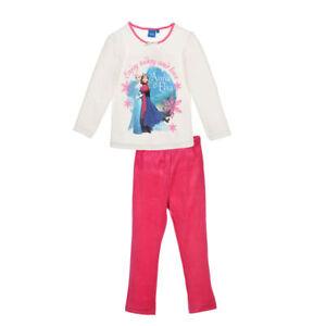DISNEY-ensemble-pyjama-velours-LA-REINE-DES-NEIGES-4-5-6-ou-8-ans-blanc-rose