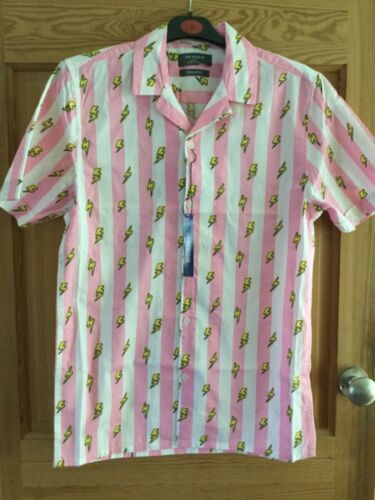 Primark Mens Pink Holiday Vacation Shirt Cactus or Lightening Bolt Cotton BNWT