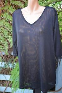 BeMe-Black-Mesh-Layering-TOP-Size-SMALL-14-NEW-3-4-Sleeve-V-NECK-NEW