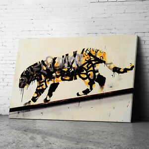 Tiger Banksy Canvas Wall Art Prints Framed Large Graffiti Pictures