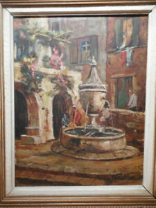 Tableau-Provencal-peinture-fontaine-Saint-Paul-de-Vence-Provence-Cote-d-039-Azur