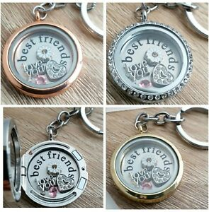 Gift-Friendship-Best-Friends-Memory-Locket-Free-Plate-Charms-Keyring-Necklace
