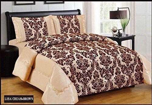 4Pc Polyester Taffeta  Damask Flocking Complete Duvet Cover Bedding Set