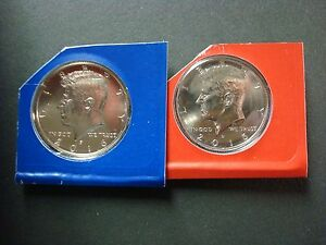 1987-P+D BOTH UNCIRCULATED KENNEDY HALF DOLLARS FROM MINT SET SEALED CELLOPHANE