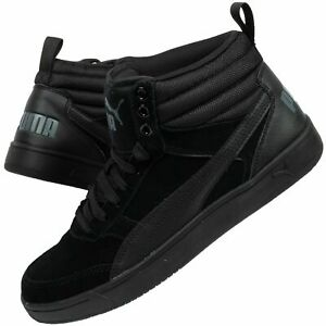 Details over Men's Puma Rebound Street V2 SD Black Suede High Top Basketball Boots Trainers