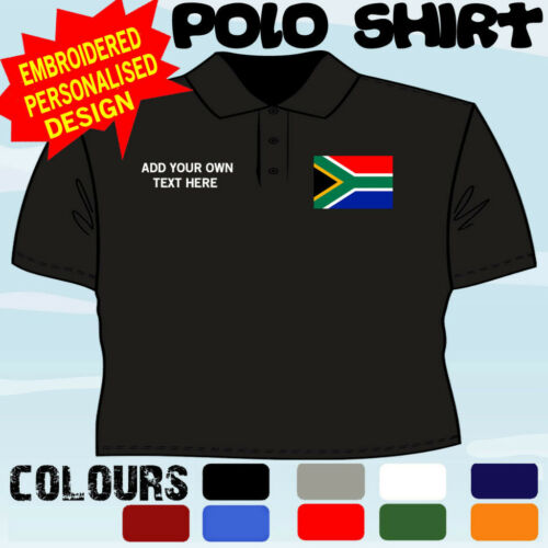 PERSONALISED SOUTH AFRICA  FLAG EMBLEM T POLO SHIRT EMBROIDERED