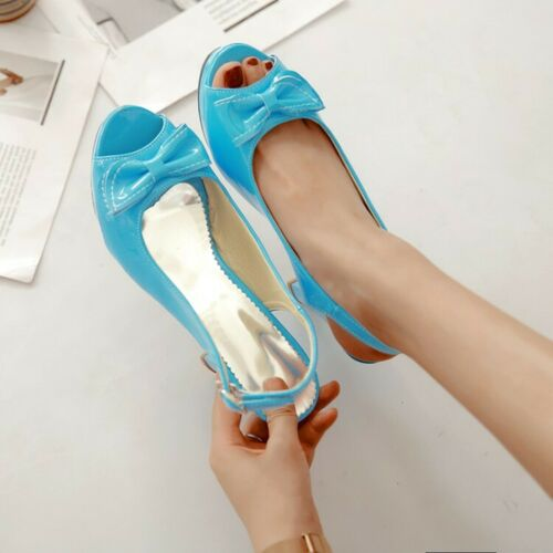 6 Colors High Heels Peep Toe Ladies Sandals Slingbacks Bow Knot Party SHoes Size