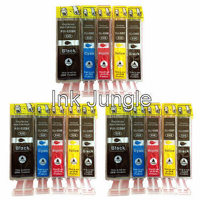 3x Sets of 5 CLI526/PGI525 Compatible Ink Cartridges For Canon PIXMA MG5350