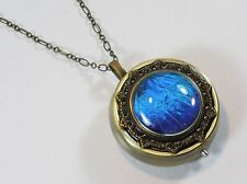 Rhetenor Blue Morpho Butterfly Wing Music Box Locket Pendant Necklace
