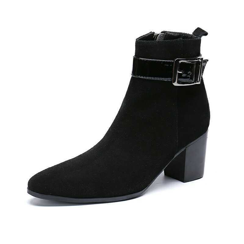 Casual Men Suede Business Buckle Strap Ankle Boot Block Heel Winter Punk shoes n