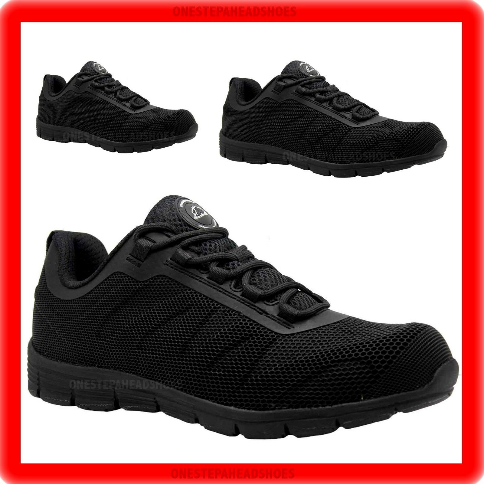 NEW MENS  ULTRA LIGHTWEIGHT STEEL TOE CAP SAFETY TRAINER SHOES WORK SIZE UK 8