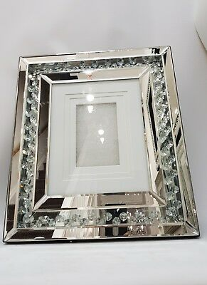 5 Picture Photo Frame Sparkly Floating Crystal Silver Mirrored Wall Hung40x101cm