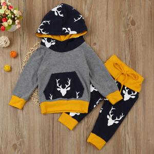 04f66d4f5 2PCS Newborn Infant Baby Boy Girl Deer Hoodie Tops+Pants Outfits ...