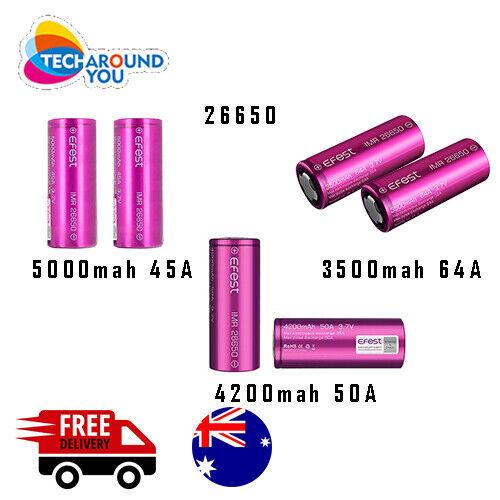 2x Efes 26650 5000/4200/3500mAh lithium Li-ion Rechargeable High Drain Battery