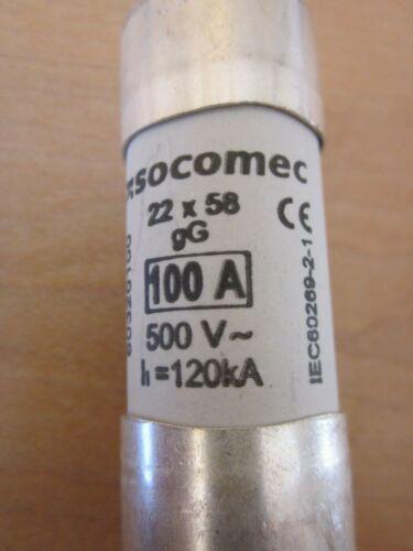 Socomec 60320100 100A HRC cylindrical fuses 22x58  IEC60269-1  10 Stück