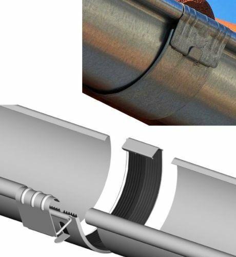 Dachrinnenverbinder Rinnenverbinder Titanzink Zink Größe 7-tlg 280-127mm