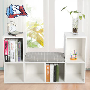 Bookshelf Wood Cube 6 Grids Bookcase with Reading Nook Toy With Cushion Home US
