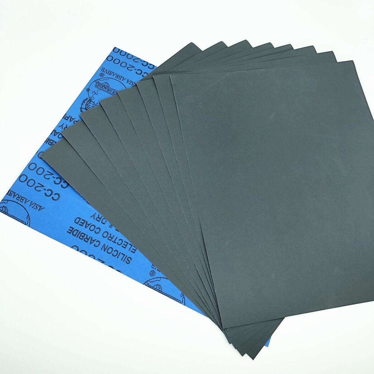 9''x11'' Wet dry Sandpaper Sheets 400/600/800/1000/2000/3000/5000 Grit Polish 2