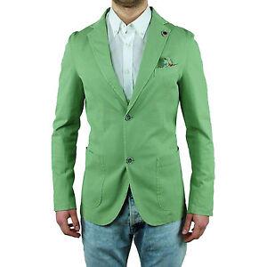 Dettagli su Giacca Blazer Sartoriale Uomo Verde Asquani Slim Estiva Pochette Made In Italy