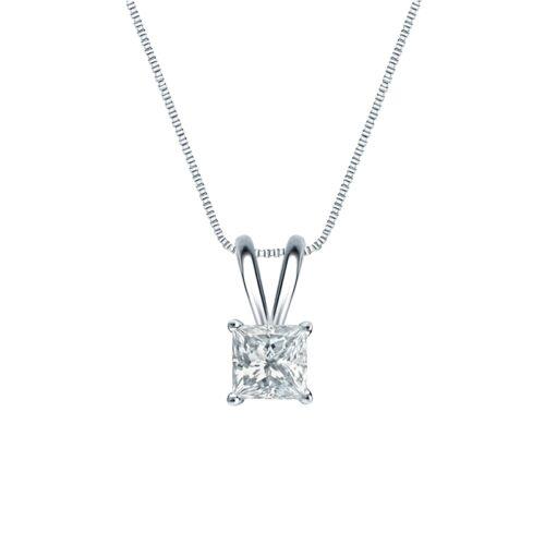 "1 Ct Princess Brilliant Cut Solid 14k White Gold Solitaire Pendant 18/"" Necklace"