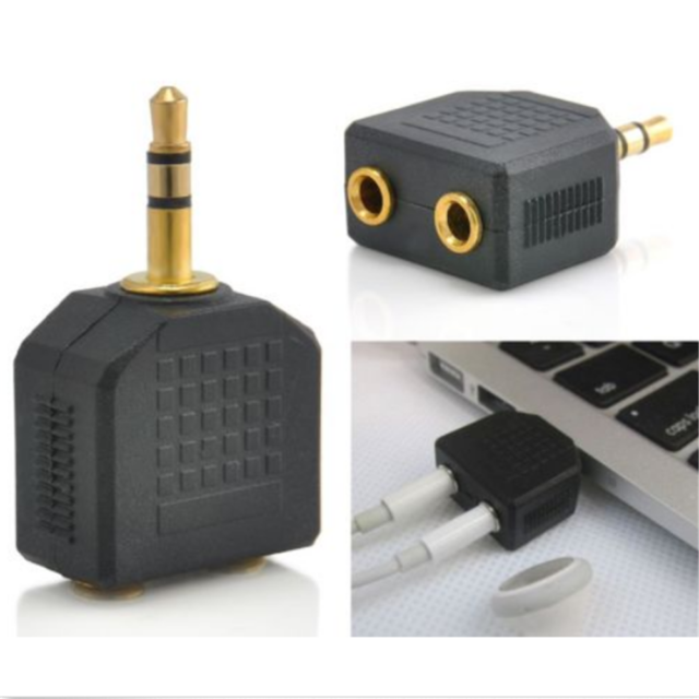 Y Splitter 1 to 2 Double Earphone Headphone Cable Cord Adapter 3.5mm Jack Plug