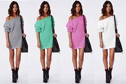 Damen Pullover LongPulli  Strick Tunika Sweater Kleid Langarm Bluse S/M 614