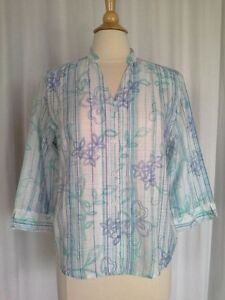 SIZE-12P-NEW-54-00-ALFRED-DUNNER-PETITE-Blue-Green-White-3-4-Camp-Shirt-Top