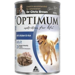 Optimum Adult With Chicken & Rice Wet Dog Food Can 400g