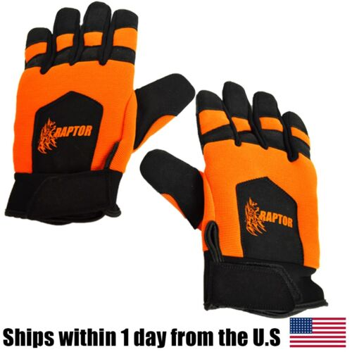 Anti-Vibration work gloves mechanic large orange made with Kevlar Chainsaw