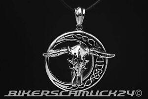 Biker-Schmuck-Anhaenger-Stierschaedel-Bull-Skull-Edelstahl-mit-Lederband-Geschenk