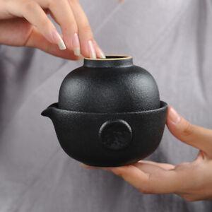 Portable Tea Set For Travel Noir Pottery Théière Avec Infuseur Tasse à Thé x 1 pièces