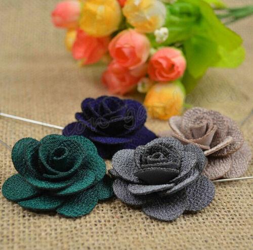 Men Accessories Lapel Flower Daisy Handmade Boutonniere Stick Brooch Pin Evening
