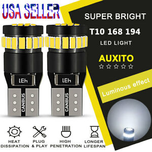 10X AUXITO CANbus 24-SMD T10 HID White LED Light Bulbs 194 168 175 W5W 2825 EDO