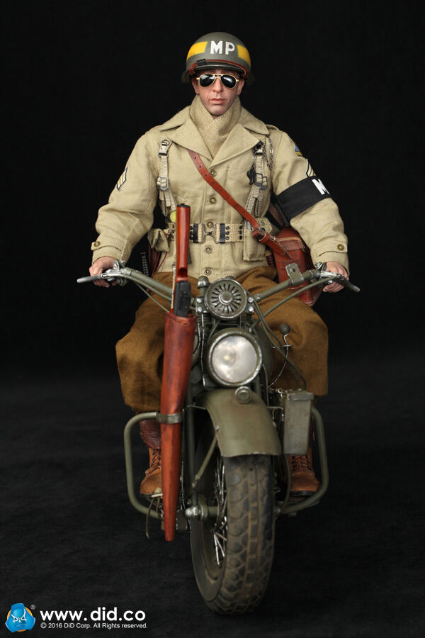 DiD Bryan WW2 2nd Armored Division Military Police with motorcycle 1 6 scale mib