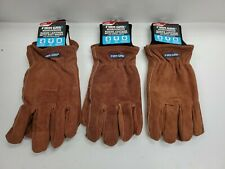 Lot Of 3 Mens Large Firm Grip Suede Leather Work Gloves 63397