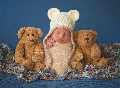Hand Crochet Knitted Baby Hat Teddy Bear Chunky Photo Prop Boy Blue Newborn-12M