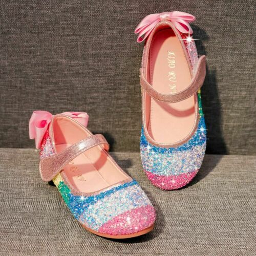Kids Girls Princess Shoes Fancy Party Rainbow Sequin Flat Princess Autumn Shoes