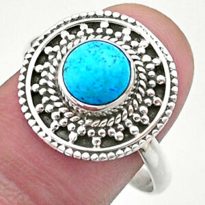 2.53cts Solitaire Blue Arizona Mohave Turquoise 925 Silver Ring Size 10 T41406