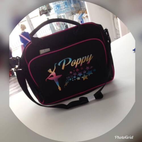 peggys personalised black pink trim ballet rainbow holographic dance bag 3