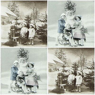 4x Paper Napkins for Decoupage Craft Sagen Christmas Children -Mix