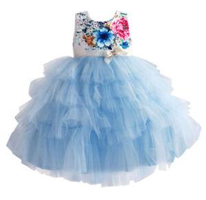 promo code b0ca4 48551 Dettagli su Vestito Elegante Cerimonia Abito Bambina Tulle Azzurro Girl  Party Dress DGZF042