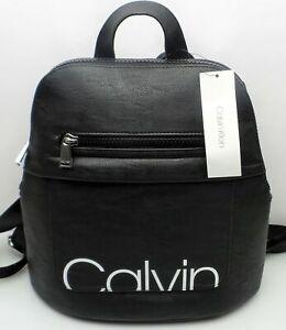 Details zu Calvin Klein Rucksack Schwarz Leder W Weiß Logo Stil #H6JKI4SB Neu