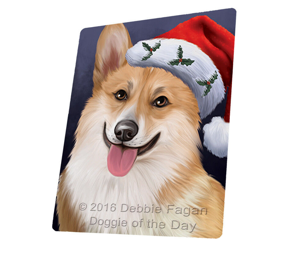 Christmas Corgis Dog Holiday Santa Hat Woven Throw Sherpa Blanket T434