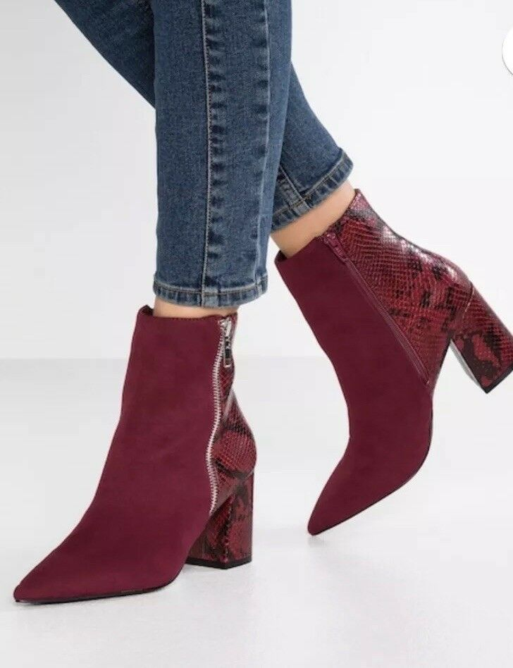 Faith Damenschuhe BAKE BAKE BAKE - Classic Ankle Stiefel In Wine With Zip Größe UK 5 6ad914