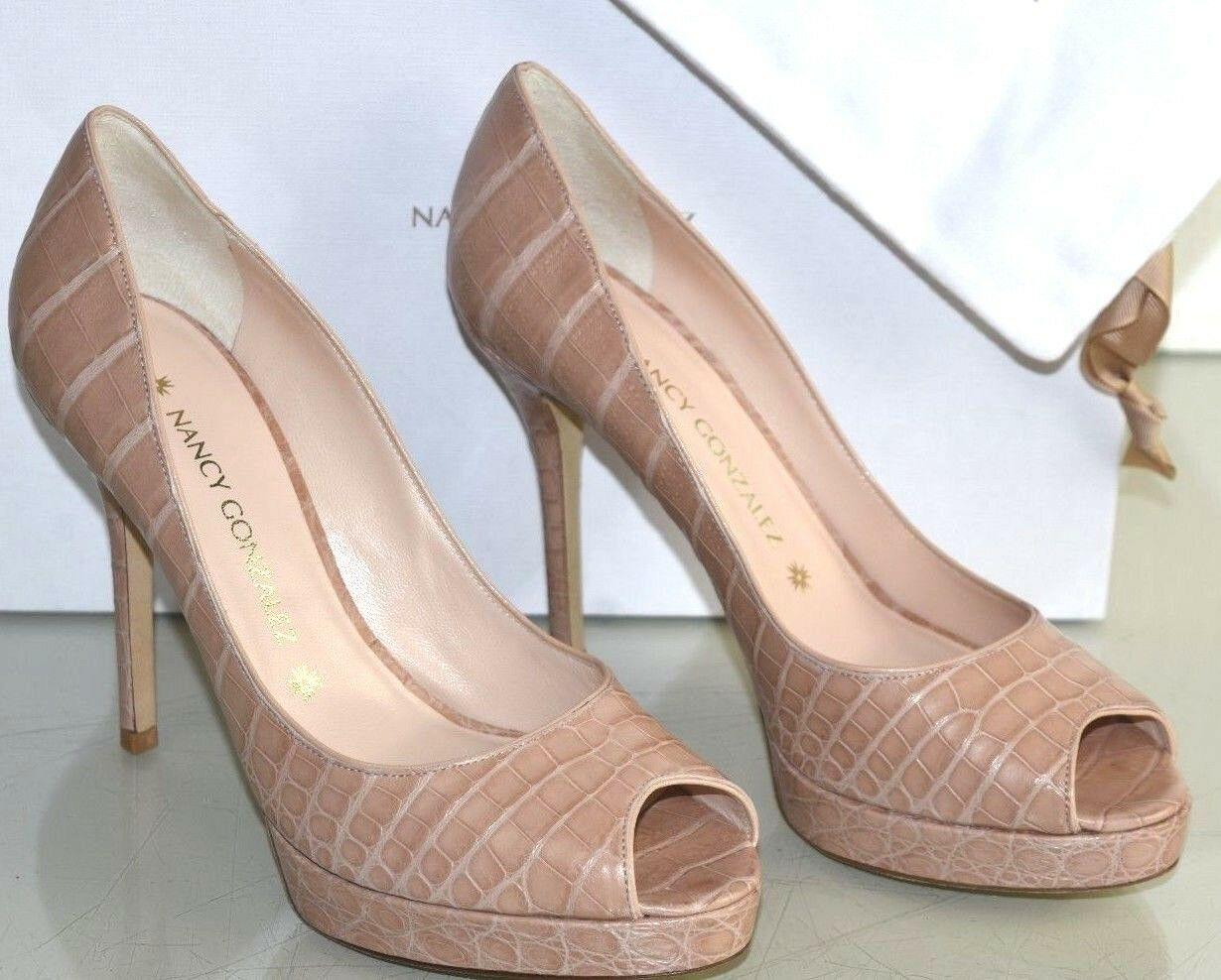 3150 NEW Nancy Gonzalez MS G 105 Crocodile Peep Toe Platform Pump NUDE shoes 39