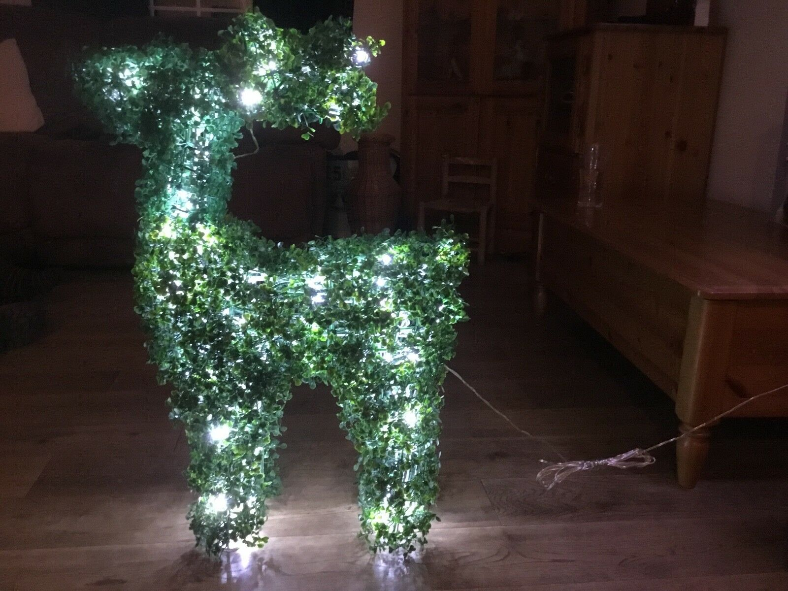 2 Standing Faux Topiary Pre-lit xmas Reindeers 80cm with 100 LEDs by Adventa
