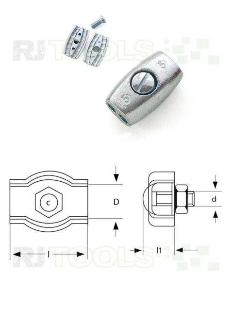 50 x Eiformklemme - Eiform Klemme - Drahtseilklemmen - verzinkt 5 mm - 933819