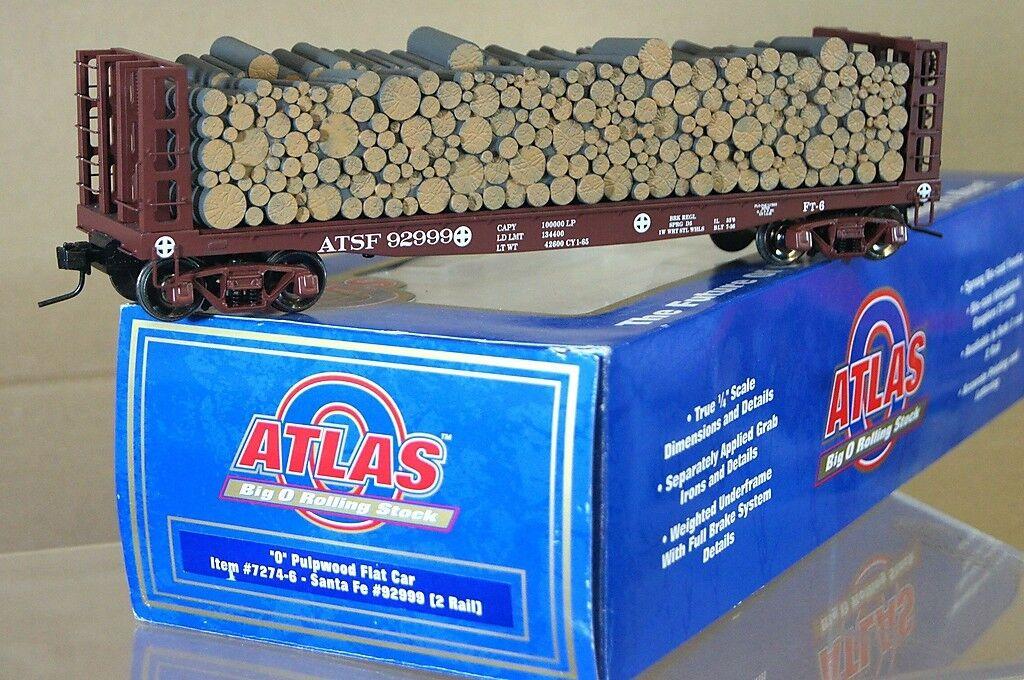 ATLAS 7274-6 O GAUGE 2 RAIL SANTA FE AT&SF PULPWOOD FLAT CAR WAGON 92999 qd