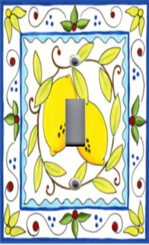 Light Switch Plate /& Outlet Covers ITALIAN TILE PATTERN ~ LEMON YELLOW RUSTIC